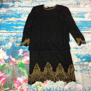 Lawrence Kazar 80's black and gold beaded dress